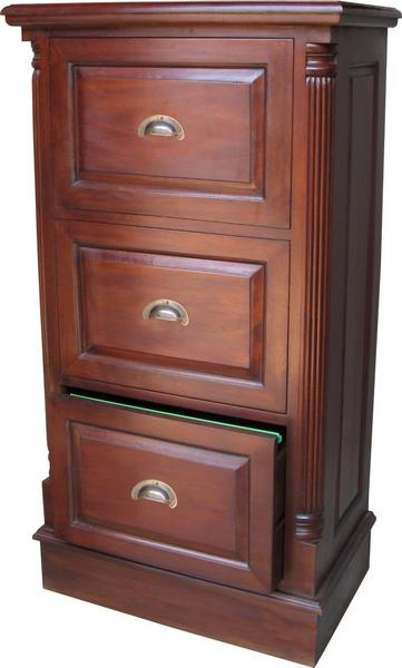 3 Drawer Mahogany Filing Cabinet with Antique Handles