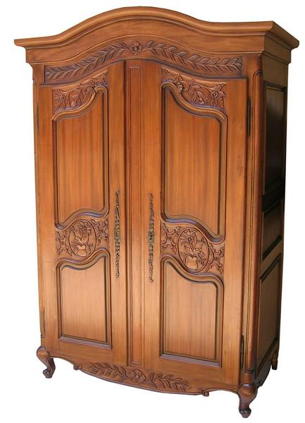 Arch Topped French Armoire with carved doors (ARM011)
