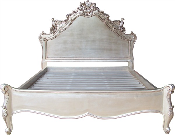 French Versailles Carved Bird Bed Silver Leaf Lock
