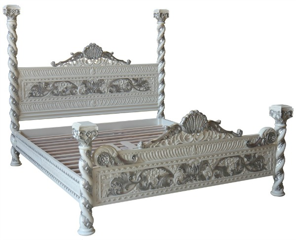 Venetian Four Poster Bed (White & Silver)