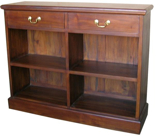 Solid Mahogany 2 Drawer Low Bookcase Bcs007