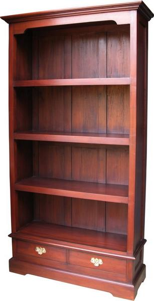 Solid Mahogany Bookcase with 2 Drawers BCS017