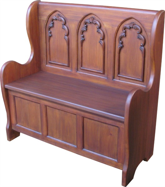 Solid Mahogany Gothic Settle