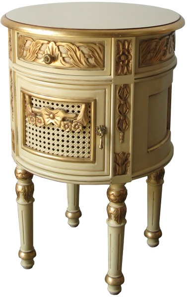 French Round Bedside - Cream with gold