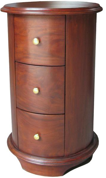 lock stock and barrel round bedside table 3 drawer bs021. Black Bedroom Furniture Sets. Home Design Ideas