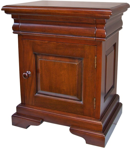 French Louis Philippe Sleigh Style 1 Drawer Bedside Cabinet BS041