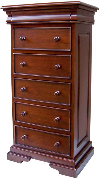 Mahogany Sleigh Style 5 6 Drawer Tall Narrow Chest