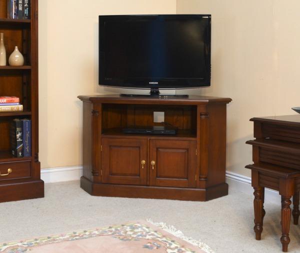 Solid Mahogany Pillar Corner Tv Unit