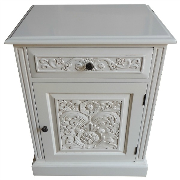 Carved 1 Drawer Bedside Locker BS048A/W