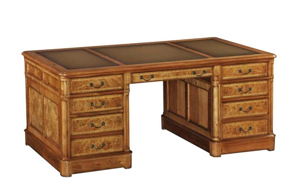 Hampton Pedestal Desk with inlaid leather top (Extra Large)