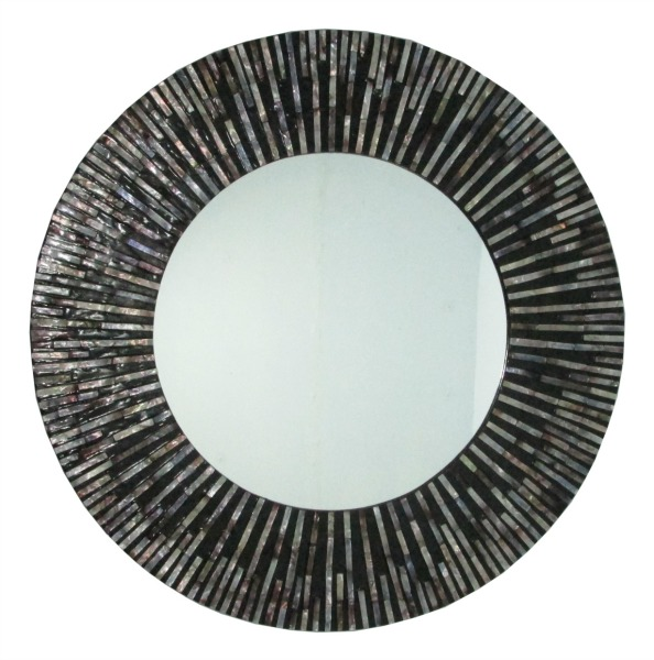 Large Seashell Sunray Wall Mirror Round Black And Amber