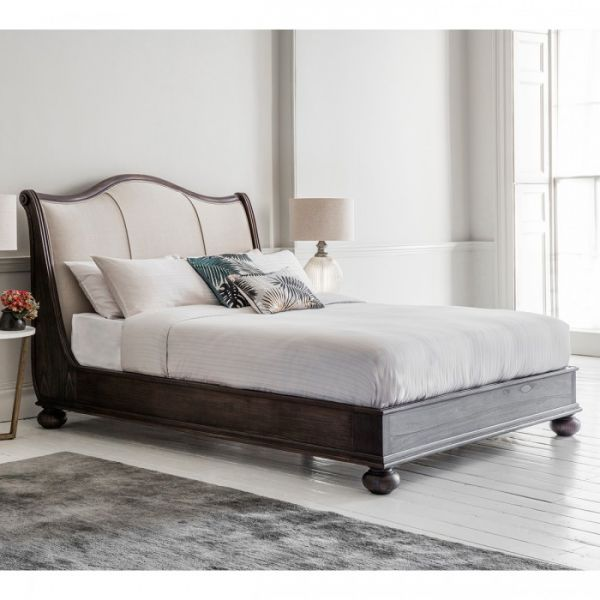 Safari Bed Low End (Charcoal Black with Linen) BF500