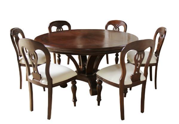 Round Mahogany Dining Table with Inlay T001 Lock Stock Barrel