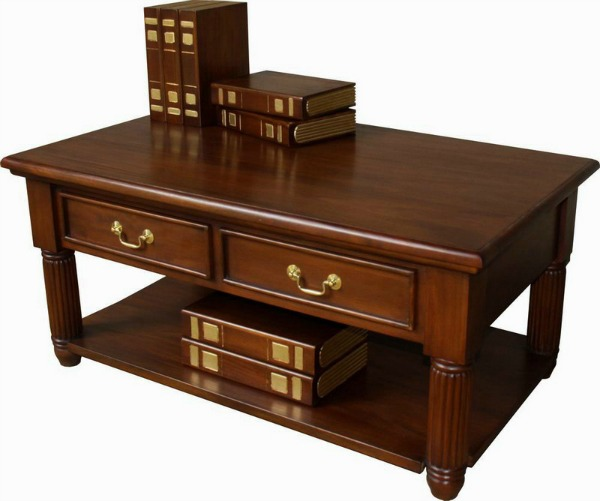 pillar mahogany coffee table lock stock barrel