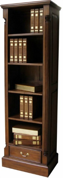 Solid Mahogany Tall Narrow Pillar Bookcase BCS029