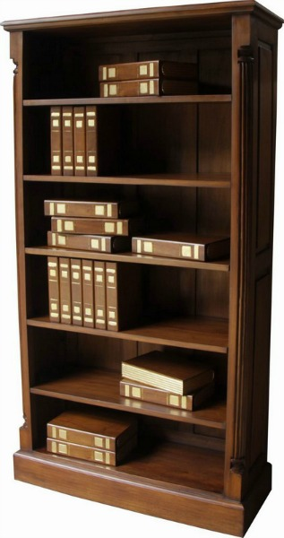 Solid Mahogany Tall Wide Pillar Bookcase BCS028