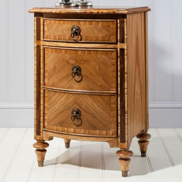 Spire 3 Drawer Walnut Bedside Cabinet