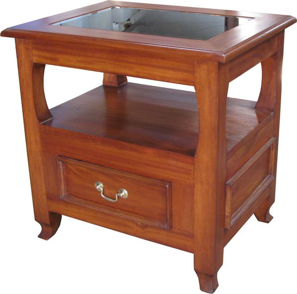 Lamp Table 1 Drawer with Glass Top T015
