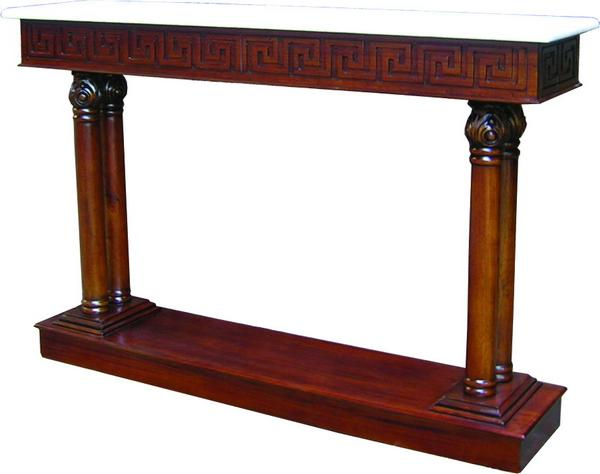 Hall Table with Marble Top and Bottom Shelf T031