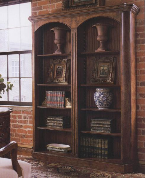 Traditional Double Walnut Bookcase with inverted corners