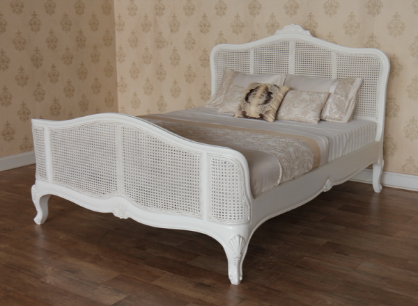 Elegance French Rattan Bed Antique White