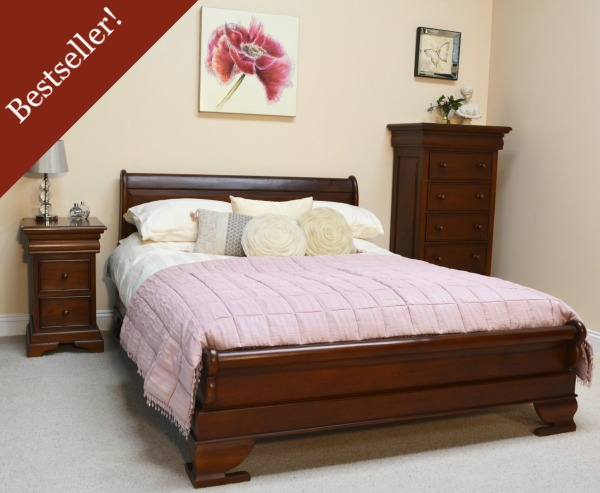 Mahogany Sleigh Bed Low Footboard