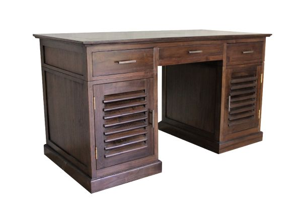 Bali Solid Teak Desk with Louvered Doors