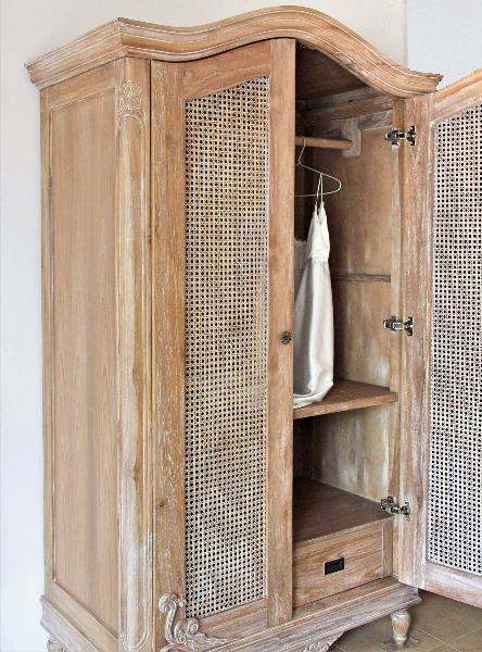 Belle French Weathered Wardrobe With Rattan Doors