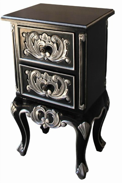 CLEARANCE - Black and Silver 2 Drawer French Bedside