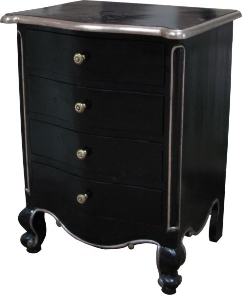 CLEARANCE - Black and Silver French Louis Bedside Table with 4 drawers
