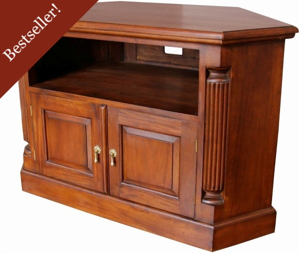 Solid Mahogany Pillar Corner TV Unit CBN062