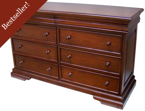 French Louis Philippe Sleigh Style Low Wide Chest of Drawers (6-8 drawers) CHT077