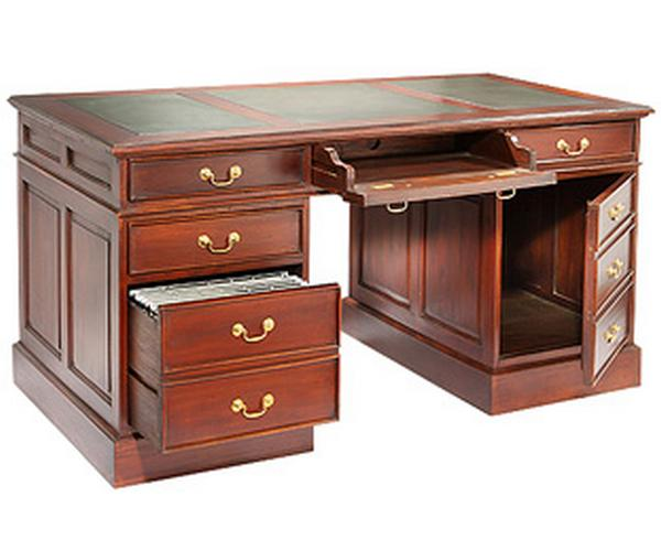 Large Computer Desk With Leather Top And Antique Handles