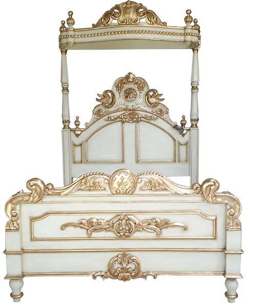 Half Tester Bed - Antique white with gold