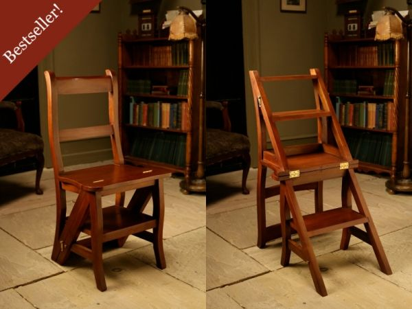 Mahogany /'Metamorphic/' Office Library Black Step Chair Antique Repro OCS023B