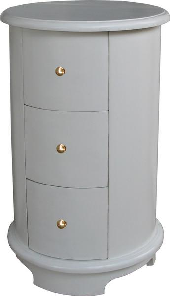 Round Bedside Table 3 drawer BS021P