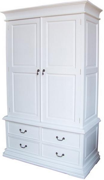 Mahogany French Sleigh Wardrobe with 4 drawers in Antique White ARM009P