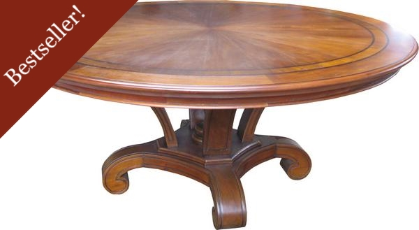 Round Mahogany Dining Table With Inlay