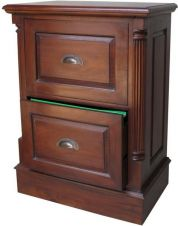 STANDARD 2 Drawer Mahogany Filing Cabinet with antique handles CHT023C (To Order Only)