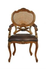 Hampton French Rattan Chair with leather