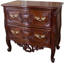 French Rococo Bedside with Pediment BS024