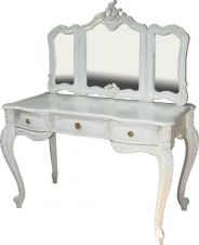 Antique White French Rococo Dressing Table and Mirror DST005P