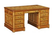 Hampton Walnut Pedestal Desk with wooden top (Large)
