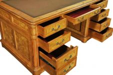 Hampton Walnut Pedestal Desk with inlaid leather top (Large)