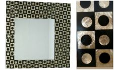 Capiz Shell Wall Mirror - black & gold asymmetrical