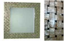 Shell Mirror - gold & black basket weave