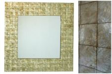 Capiz Shell Wall Mirror - square gold
