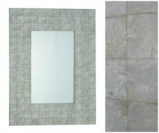 Capiz Shell Wall Mirror - rectangular white