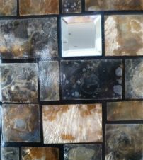 Shell Framed Wall Mirror - black & amber