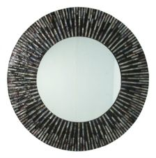 Large Seashell Sunray Wall Mirror - round black and amber